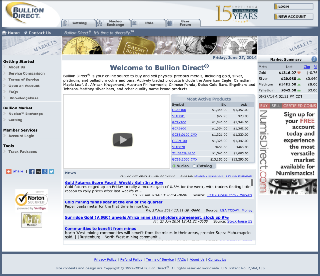 BullionDirect Website