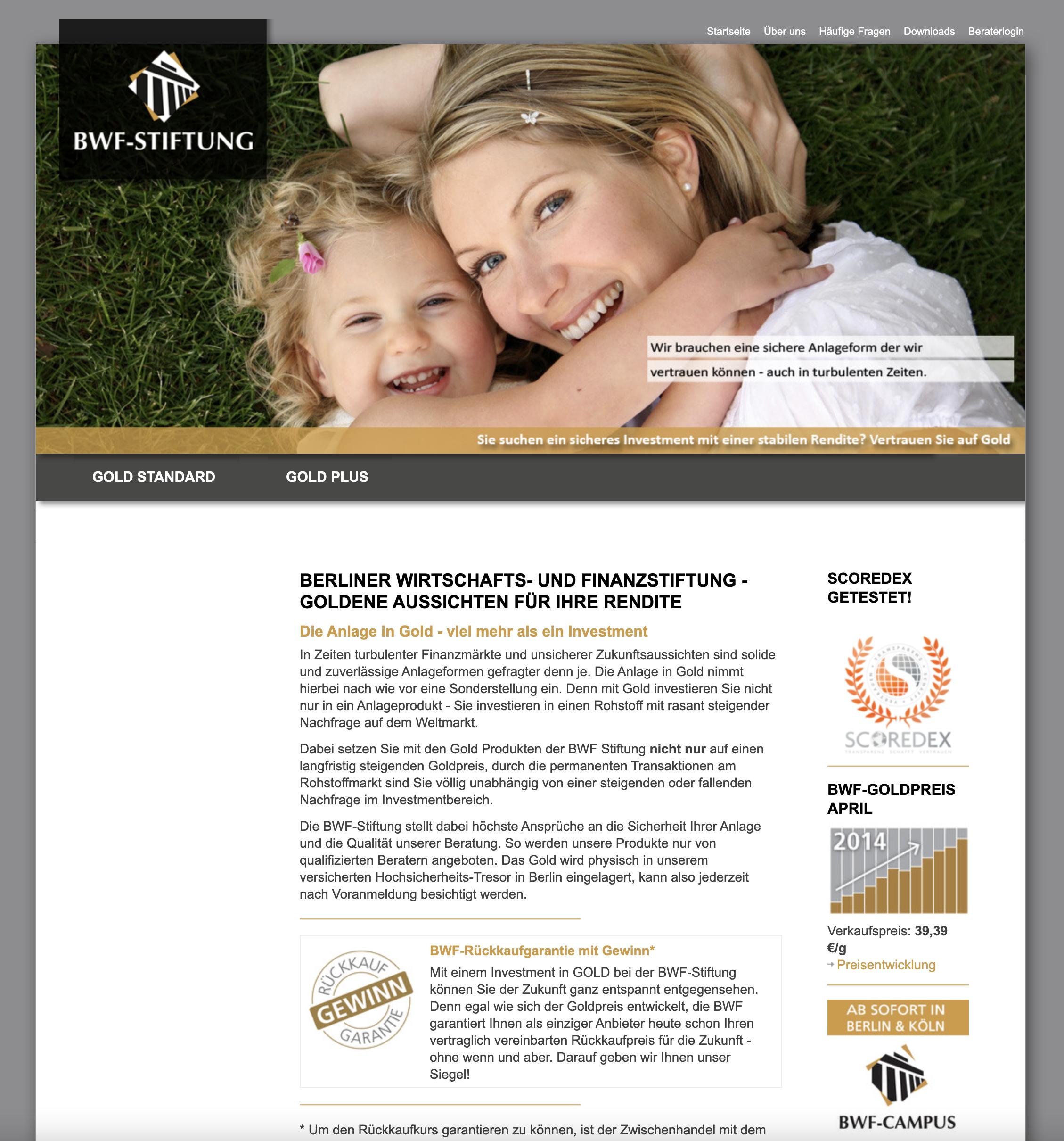 Screenshot Website BWF-Stiftung