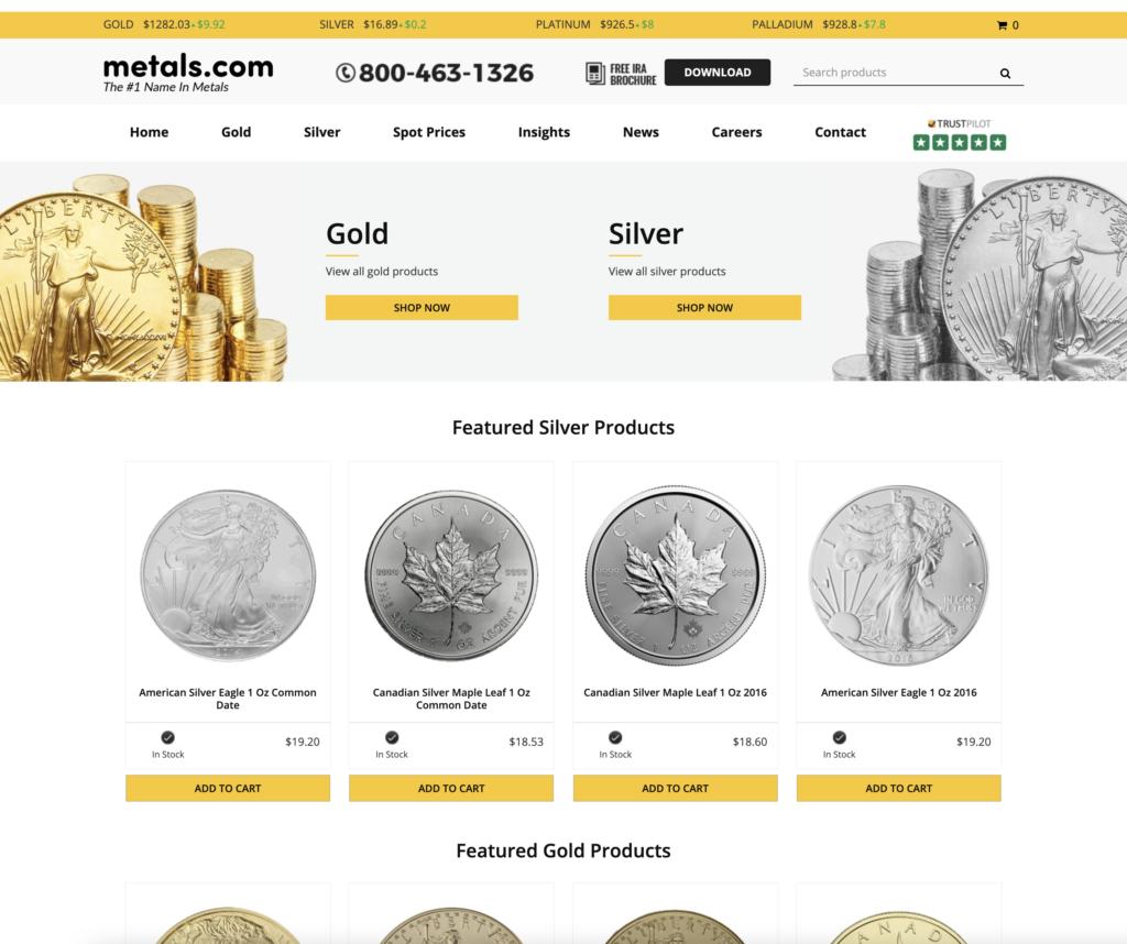 Screenshot Website Metals.com