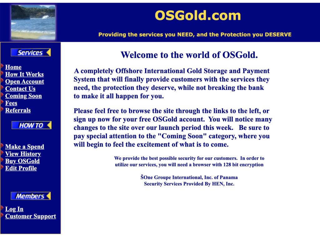 Screenshot Website OSGold